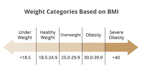 Weight categories based on BMI chart